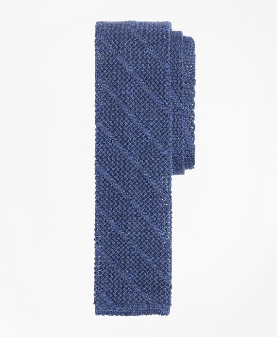 Square End Knit Tie Blue