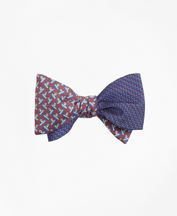 Solid-Non-Solid with Snowboarding Pequins Reversible Bow Tie Navy-Burgundy