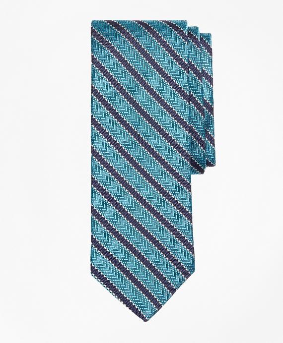 Dot Framed Stripe Tie Aqua