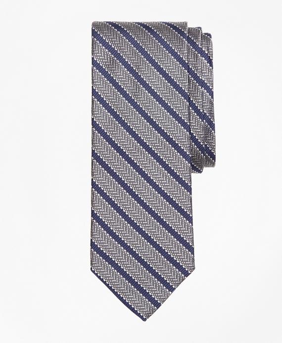 Dot Framed Stripe Tie Grey