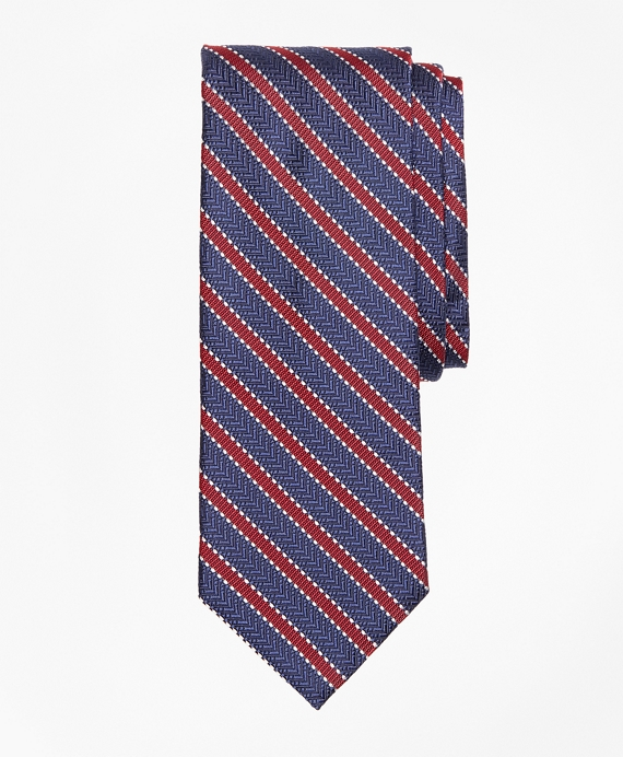 Dot Framed Stripe Tie Navy