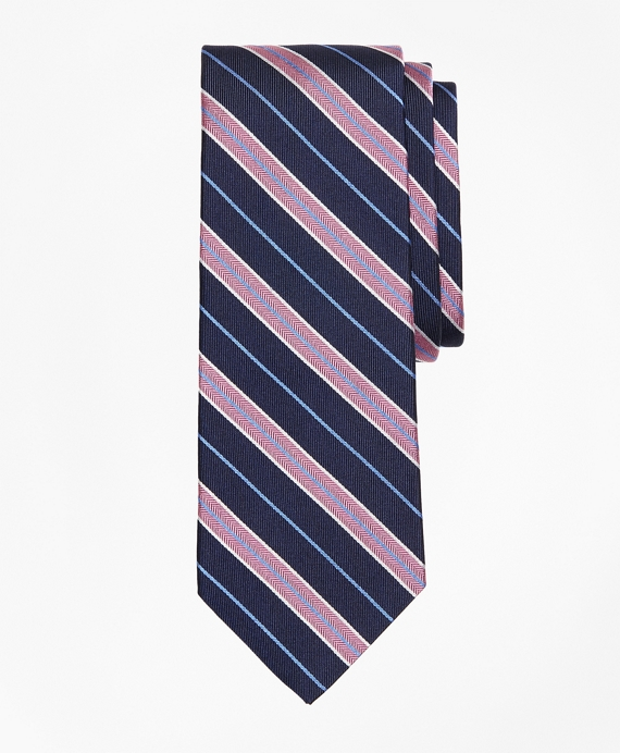 Herringbone Split Stripe Tie Pink