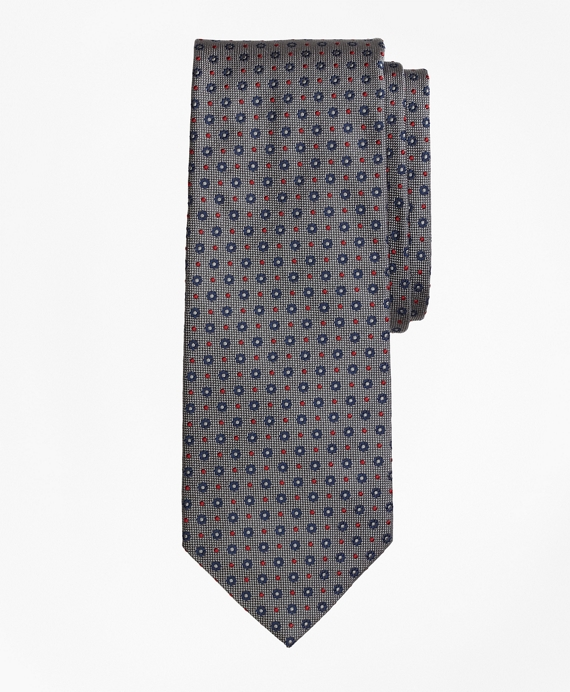 Flower and Dot Tie Grey-Navy