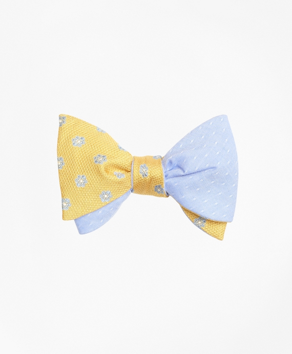 Textured Framed Flower with Diamond Dobby Reversible Bow Tie Yellow-Light Blue