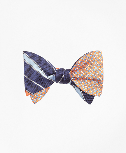 Rope Stripe with Link Print Reversible Bow Tie