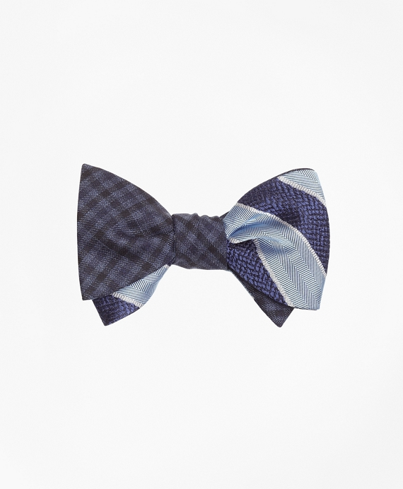 Herringbone Texture Framed Stripe with Multi-Check Reversible Bow Tie Navy-Light Blue