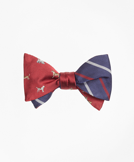 Dog Motif Print with Textured Alternating Stripe Reversible Bow Tie