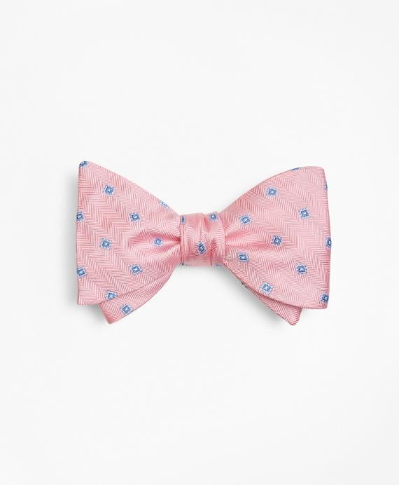 Herringbone Tossed Squares Bow Tie Pink
