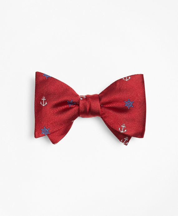 Nautical Motif Bow Tie Red