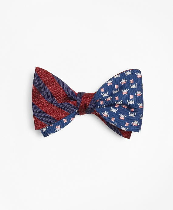 Ground Stripe with Crab and Flag Motif Print Reversible Bow Tie Red-Navy