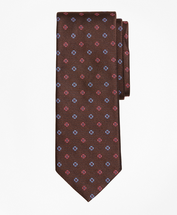 Two-Tone Flower Tie Brown