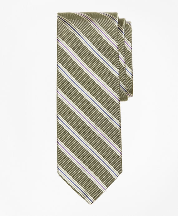 Mogador Two-Tone Alternating Split Stripe Tie Green