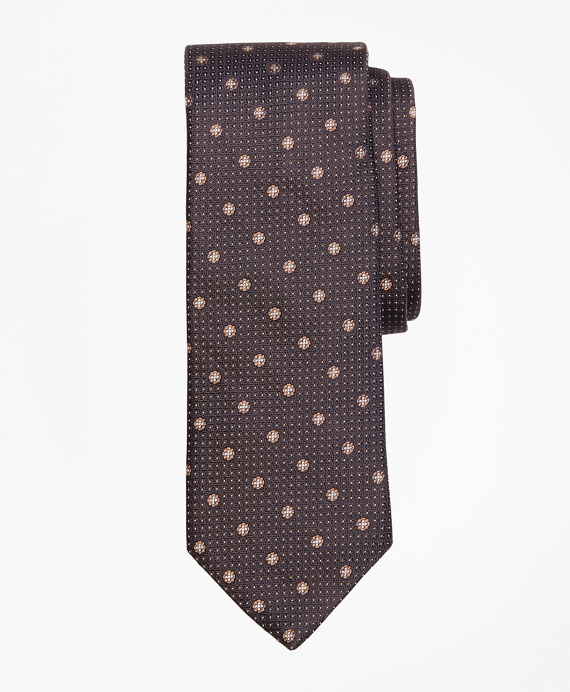 Flower and Dot Tie Brown
