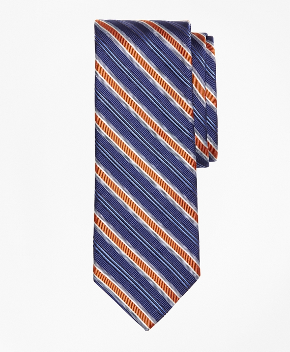 Mogador Alternating Double Split Stripe Tie Blue