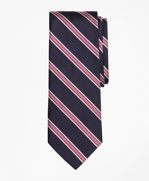 Framed Split Stripe Tie Navy