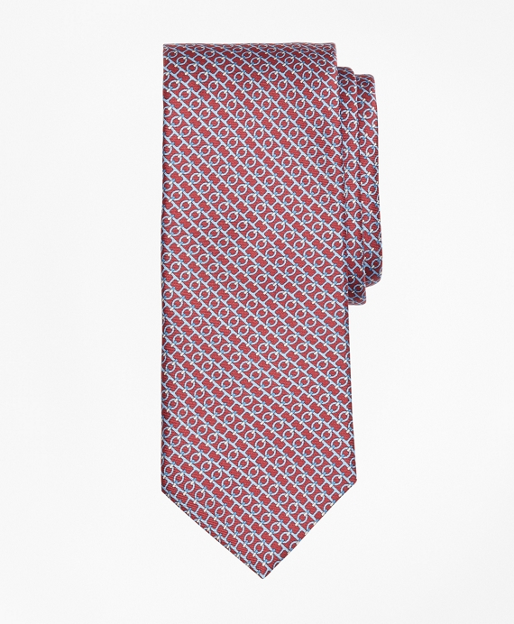 Chain Link Print Tie Red