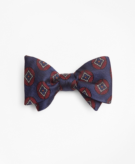 Flower Medallion Bow Tie Blue
