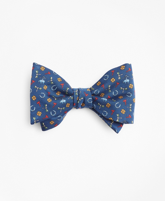 Lucky Motif Print Bow Tie Navy