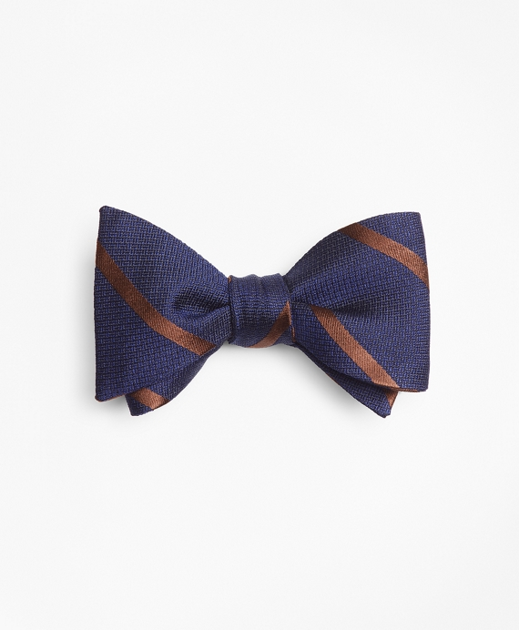 Textured Bar Stripe Bow Tie Brown