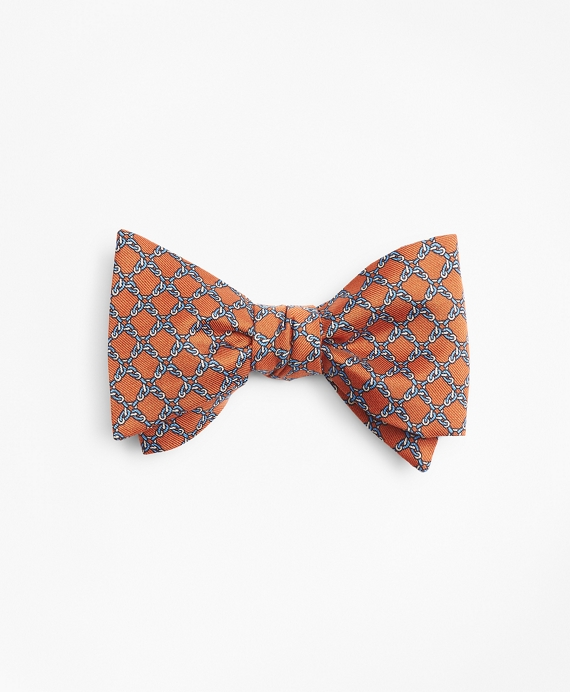 Square Link Print Bow Tie Orange