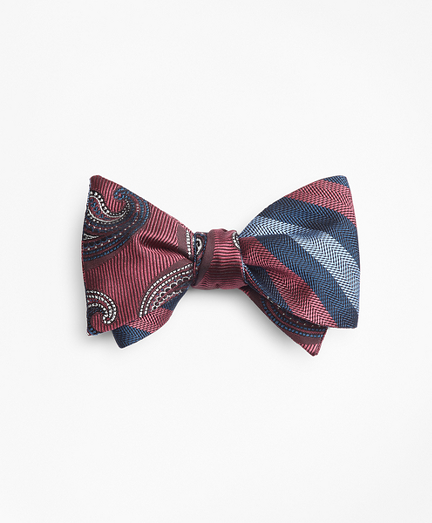 Alternating Ground Stripe with Paisley Reversible Bow Tie