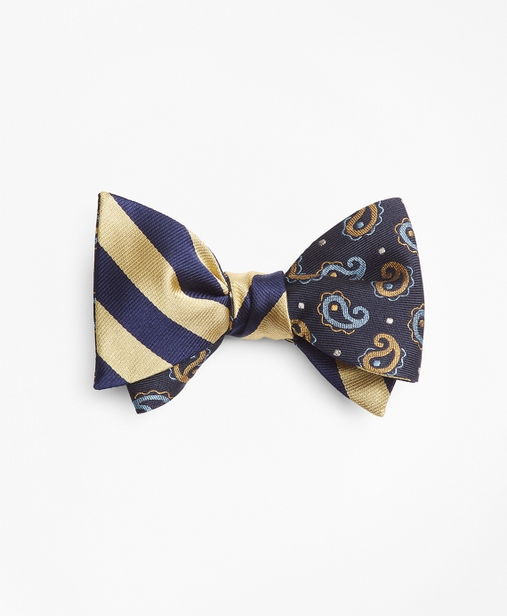 Pine and Dot with BB#4 Rep Stripe Reversible Bow Tie Navy-Gold