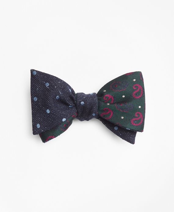 Pine and Dots with Medium Dot Reversible Bow Tie Green-Navy