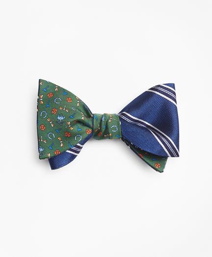 Framed Split Stripe with Lucky Motif Reversible Bow Tie