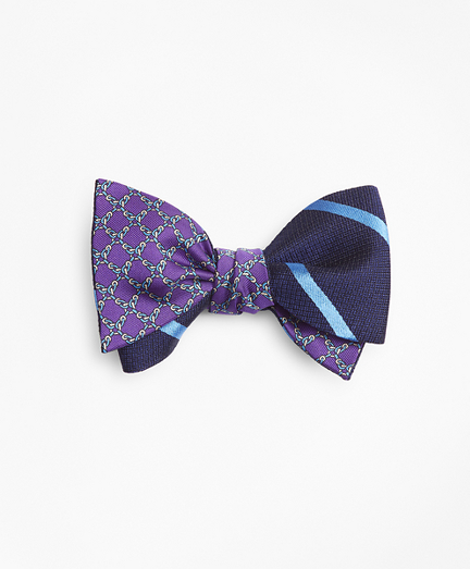 Textured Bar Stripe with Square Link Print Reversible Bow Tie