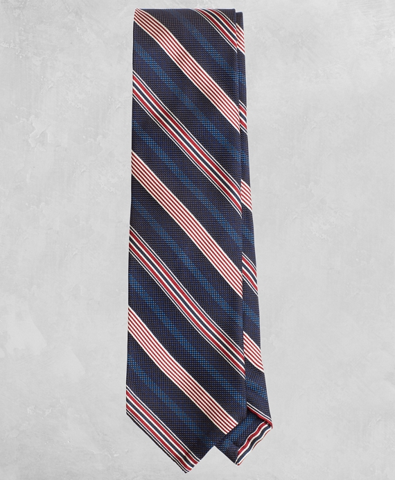 Golden Fleece® Alternating-Stripe Silk Tie Navy