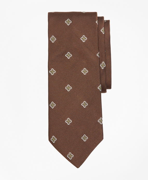 Textured Four-Petal Flower Tie BROWN