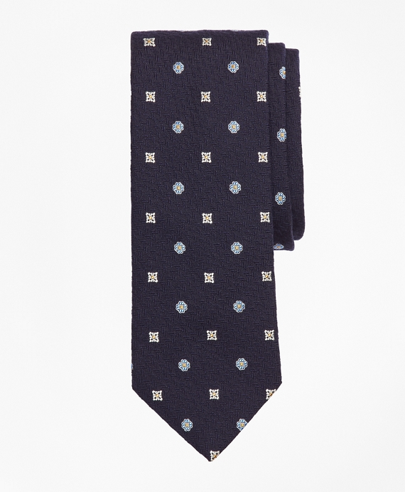 Textured Ground Multi-Flower Tie Navy