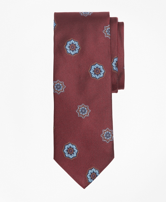 Large Medallion Tie Burgundy