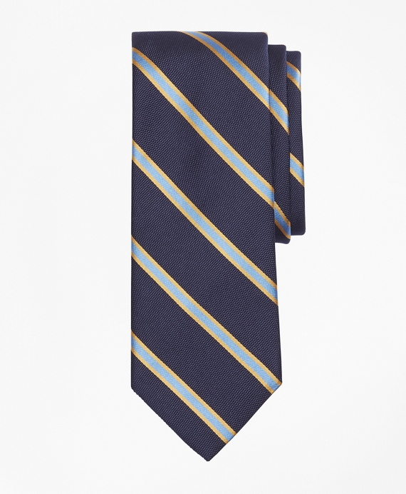 Textured Ground Framed Stripe Tie Navy