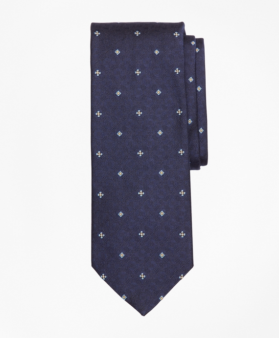 Textured Ground Flower and Square Tie Navy