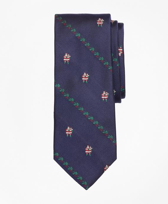 Santa with Holly Tie Navy