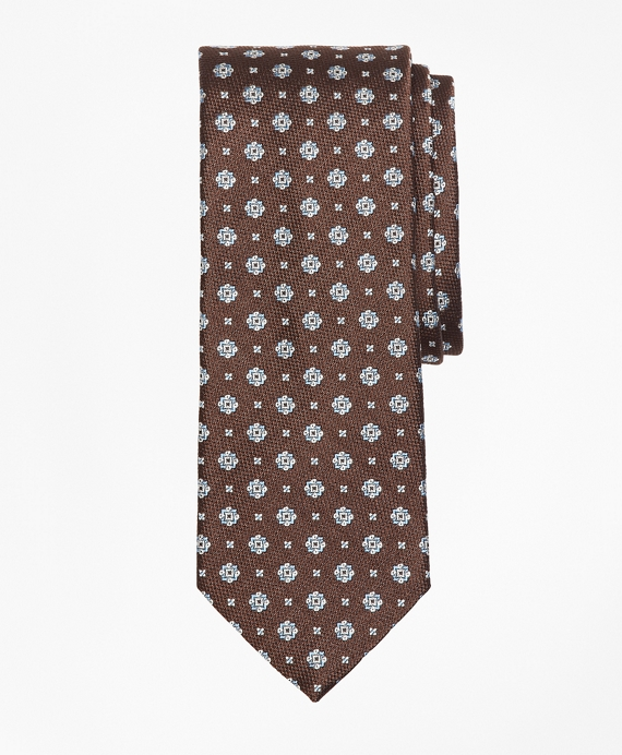 Square Medallion and Mini Flower Tie Brown