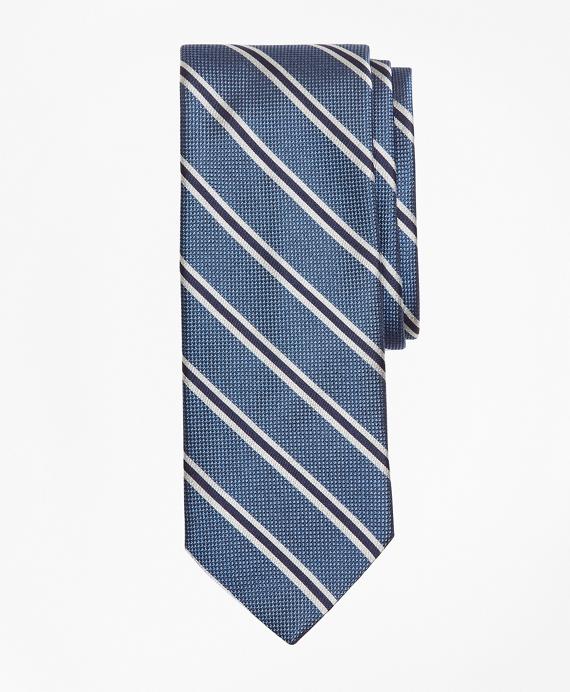 Parquet Ground Split Stripe Tie Blue
