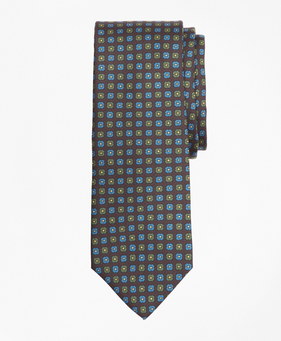 Mini-Flower Print Tie Brown