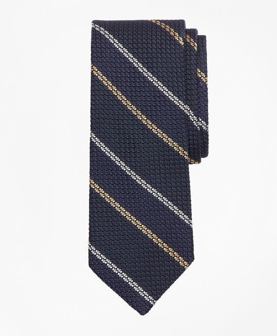 Textured Wide Framed Stripe Tie Navy
