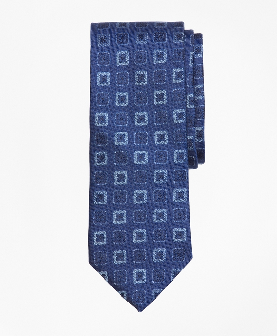 Square Medallion Tie Blue