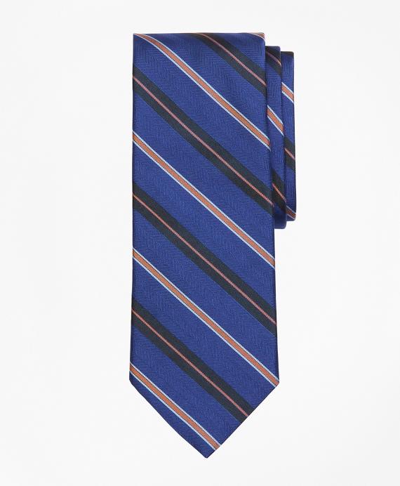 Alternating Multi-Split Stripe Tie Blue