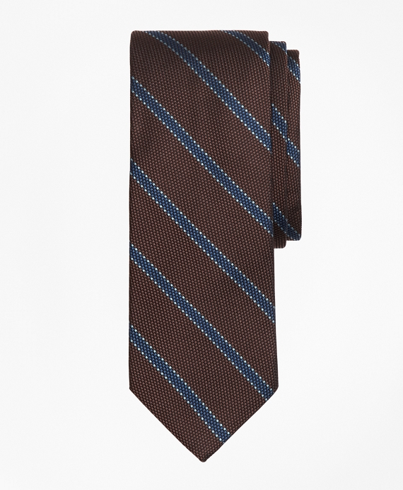 Dotted Framed Stripe Tie Brown