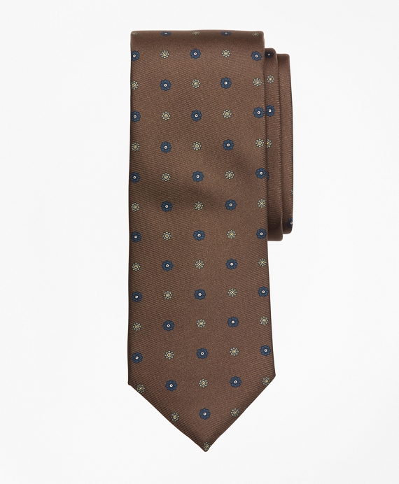 Flower Medallion Print Tie Brown