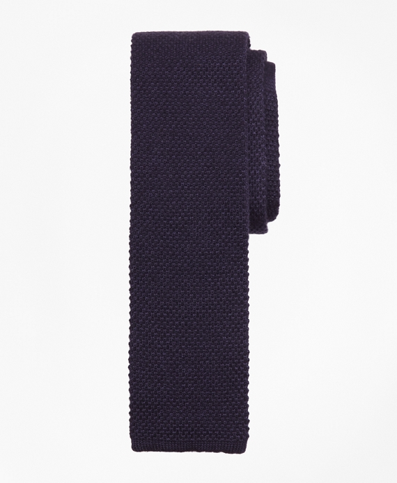 Square End Knit Tie Blue
