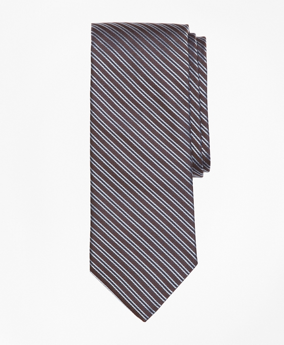 Textured Split Stripe Tie Brown