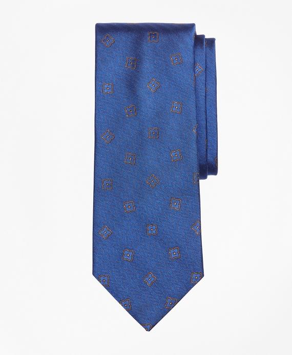Herringbone Flower Tie Blue