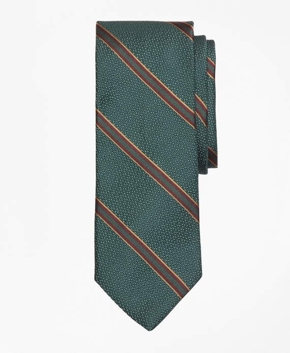 Textured Ground Double Framed Stripe Tie Green