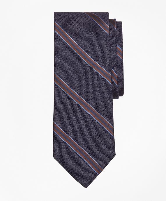 Textured Ground Double Framed Stripe Tie Navy