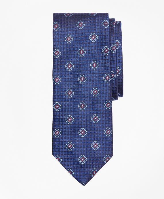 Square Flower Medallion Tie Blue